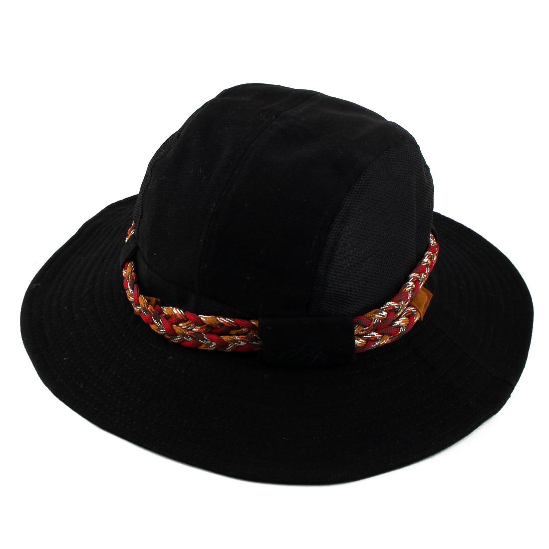 Fisherman Cotton Blends Climbing Hunting Adjustable Strap Wide Brim Protective Bucket Summer Cap Fishing Hat Black
