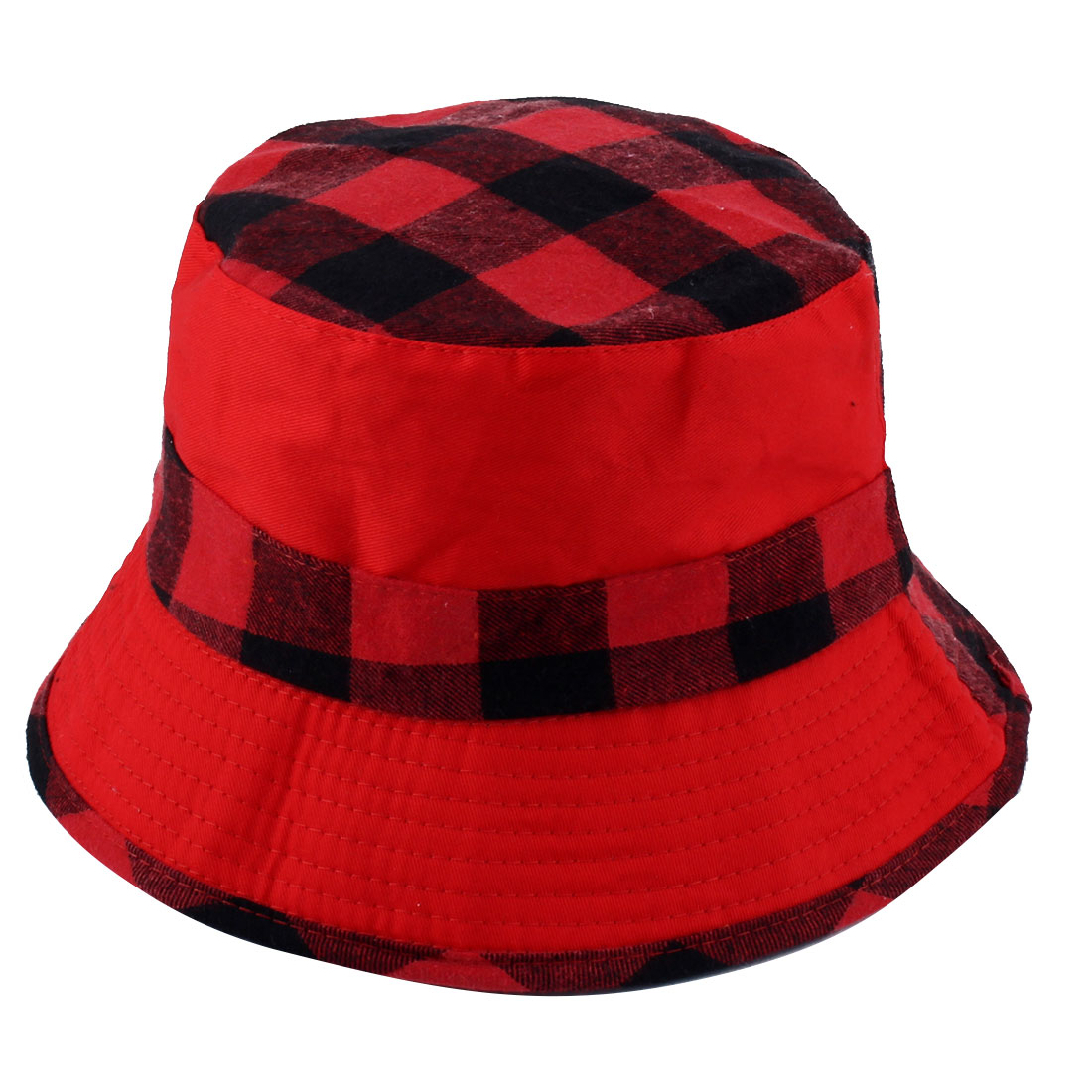Fisherman Outdoor Hunting Fishing Bucket Plaid Pattern Double Side Wear Summer Beach Sun Protective Cap Hat Red