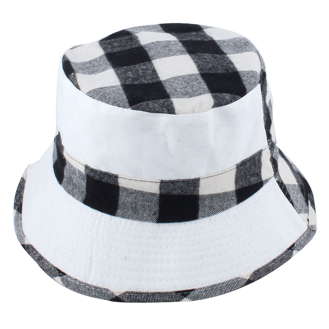 Fisherman Outdoor Hunting Fishing Bucket Plaid Pattern Double Side Wear Summer Beach Sun Protective Cap Hat White