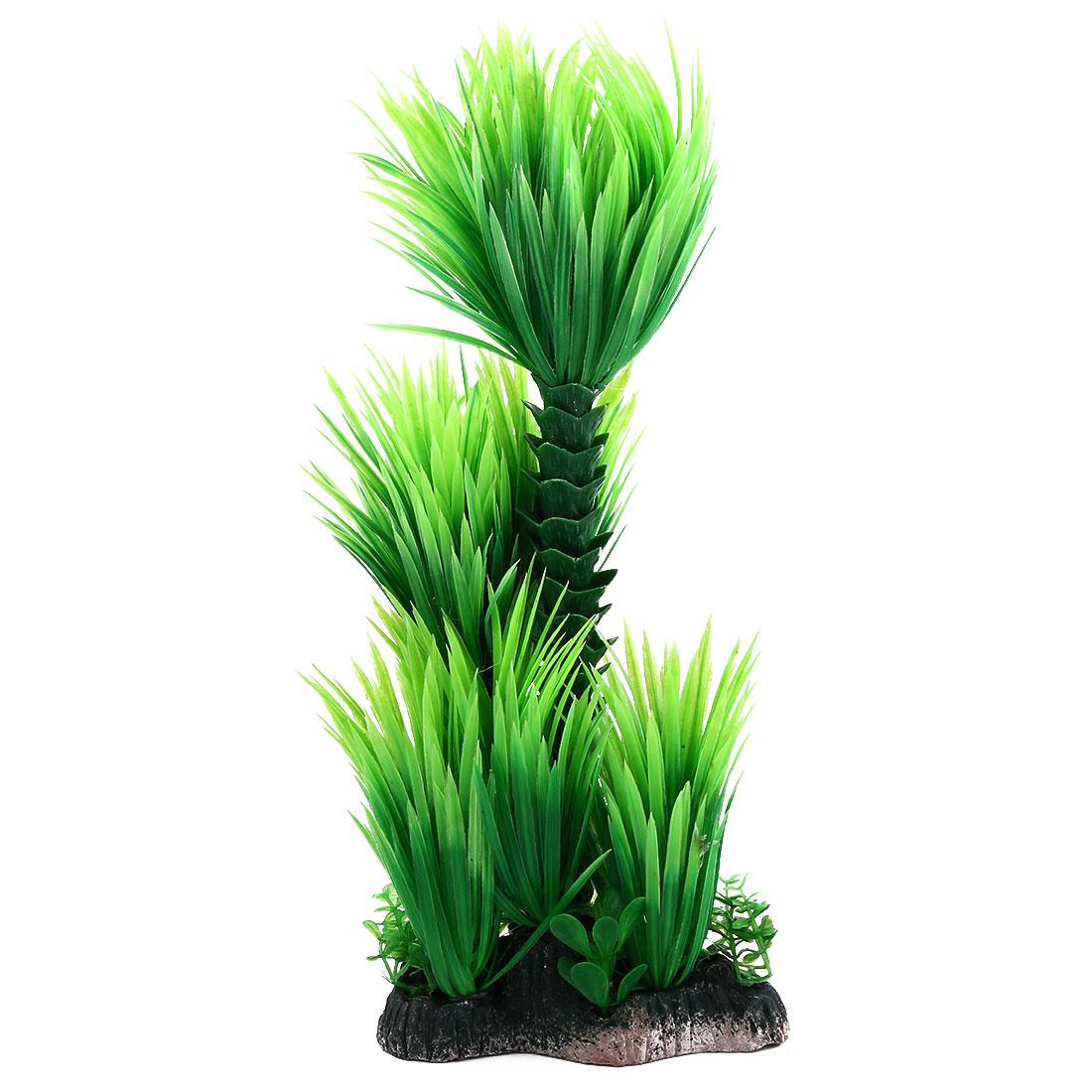 Aquarium Ceramic Base Artificial Underwater Landscape Grass Plant Green 28cm Height