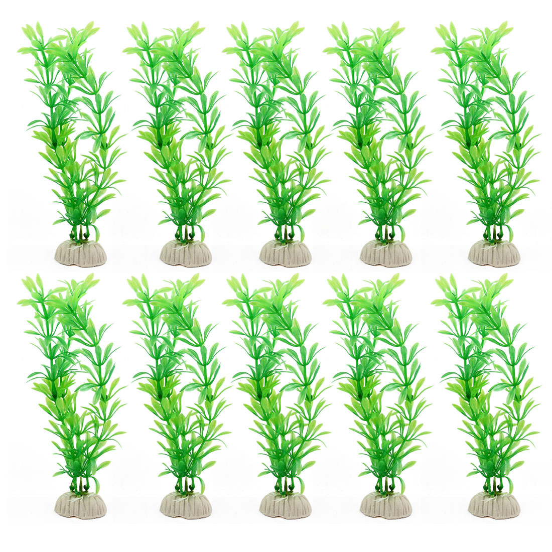 Aquarium Fish Tank Plastic Landscape Ornament Underwater Grass Plants Green 20cm Height 10 Pcs