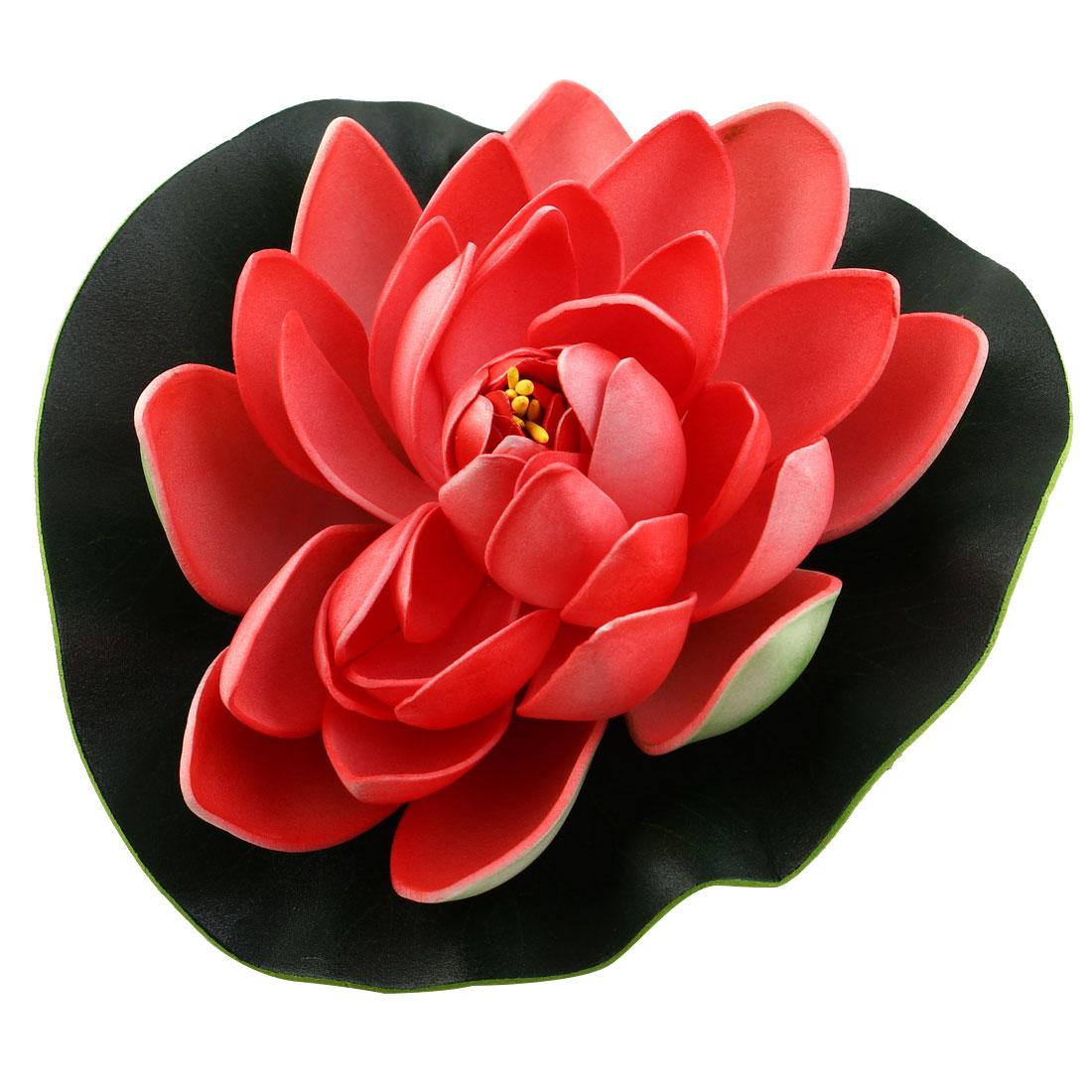 Aquarium Foam Artificial Floating Lotus Flower Leaf Ornament Green Red 18cm Dia