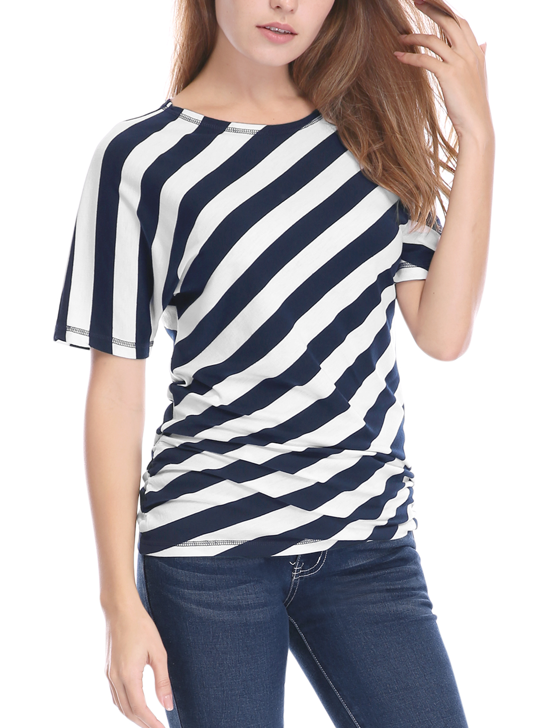 Women Striped Shirred Sides Short Batwing Sleeves Top Blue XS
