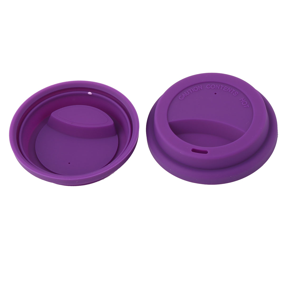 Family Cafe Silicone Round Water Tea Coffee Mug Cup Sealed Lid Cover Purple 2pcs