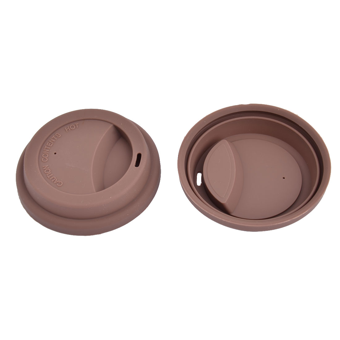 Family Cafe Silicone Round Water Tea Mug Cup Sealed Lid Cover Coffee Color 2pcs