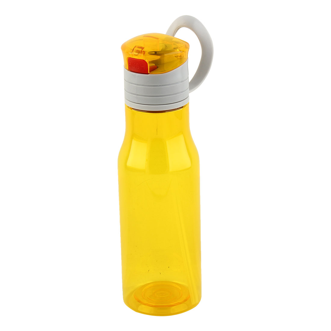 Outdoor Sports Plastic Straw Water Bottle Portable Fruit Juice Mug Cycling Canteen Camping Kettle Yellow 410ml