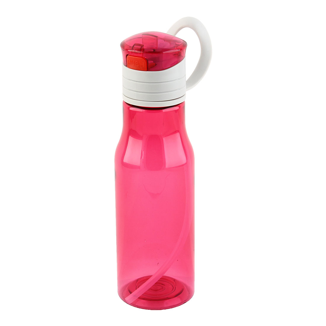 Outdoor Sports Plastic Straw Water Bottle Portable Fruit Juice Mug Cycling Canteen Camping Kettle Fuchsia 410ml