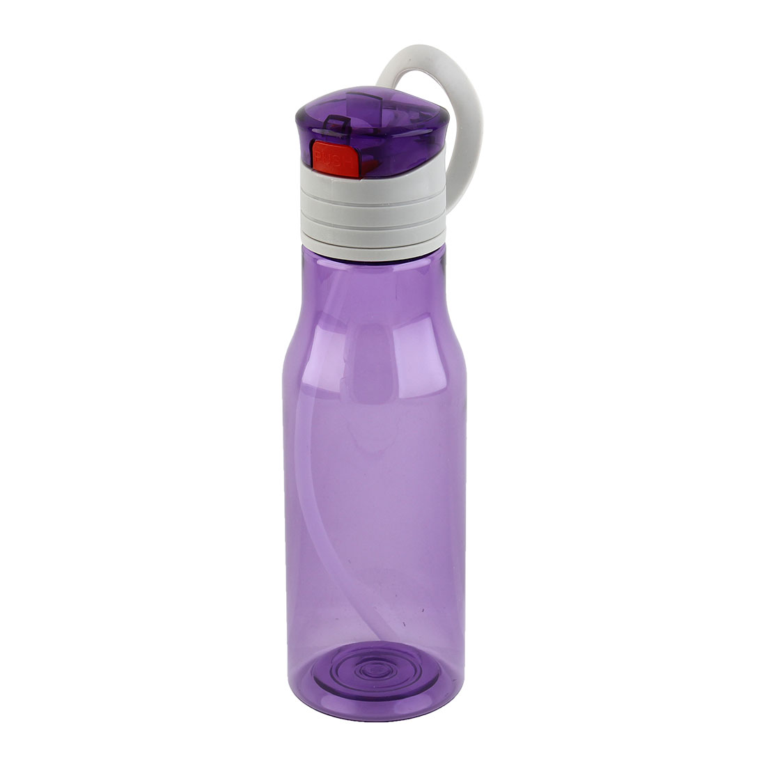 Outdoor Sports Plastic Straw Water Bottle Portable Fruit Juice Mug Cycling Canteen Camping Kettle Purple 410ml