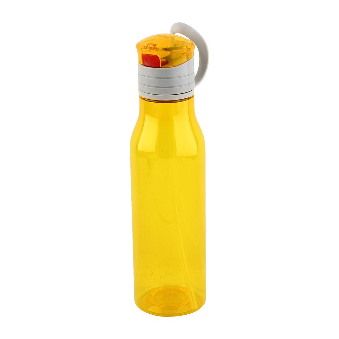 Outdoor Sports Plastic Straw Water Bottle Portable Fruit Juice Mug Biking Canteen Hiking Kettle Yellow 570ml