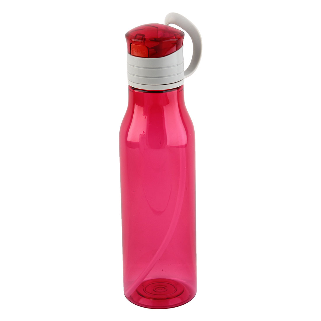Outdoor Sports Plastic Straw Water Bottle Portable Fruit Juice Mug Biking Canteen Hiking Kettle Fuchsia 570ml