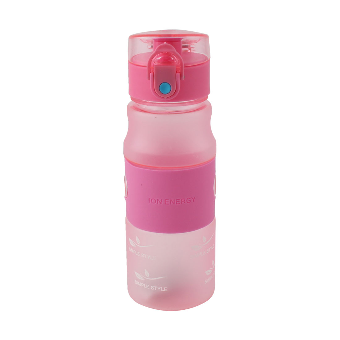 Outdoor Plastic Letter Pattern Frosted Cup Running Hiking Mug Sports Straw Water Bottle Fuchsia 480ml