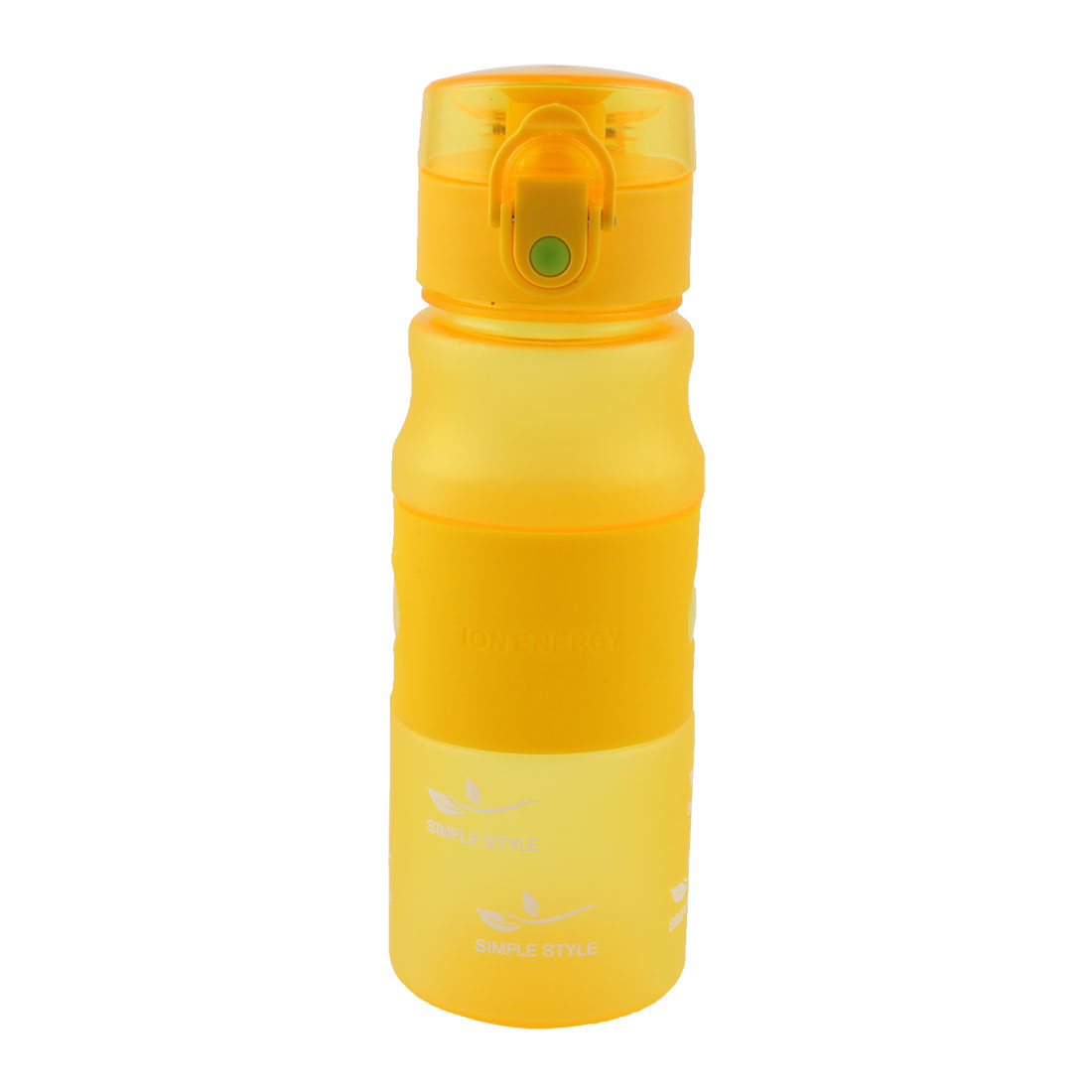 Outdoor Plastic Letter Pattern Frosted Cup Running Hiking Mug Sports Straw Water Bottle Yellow 480ml