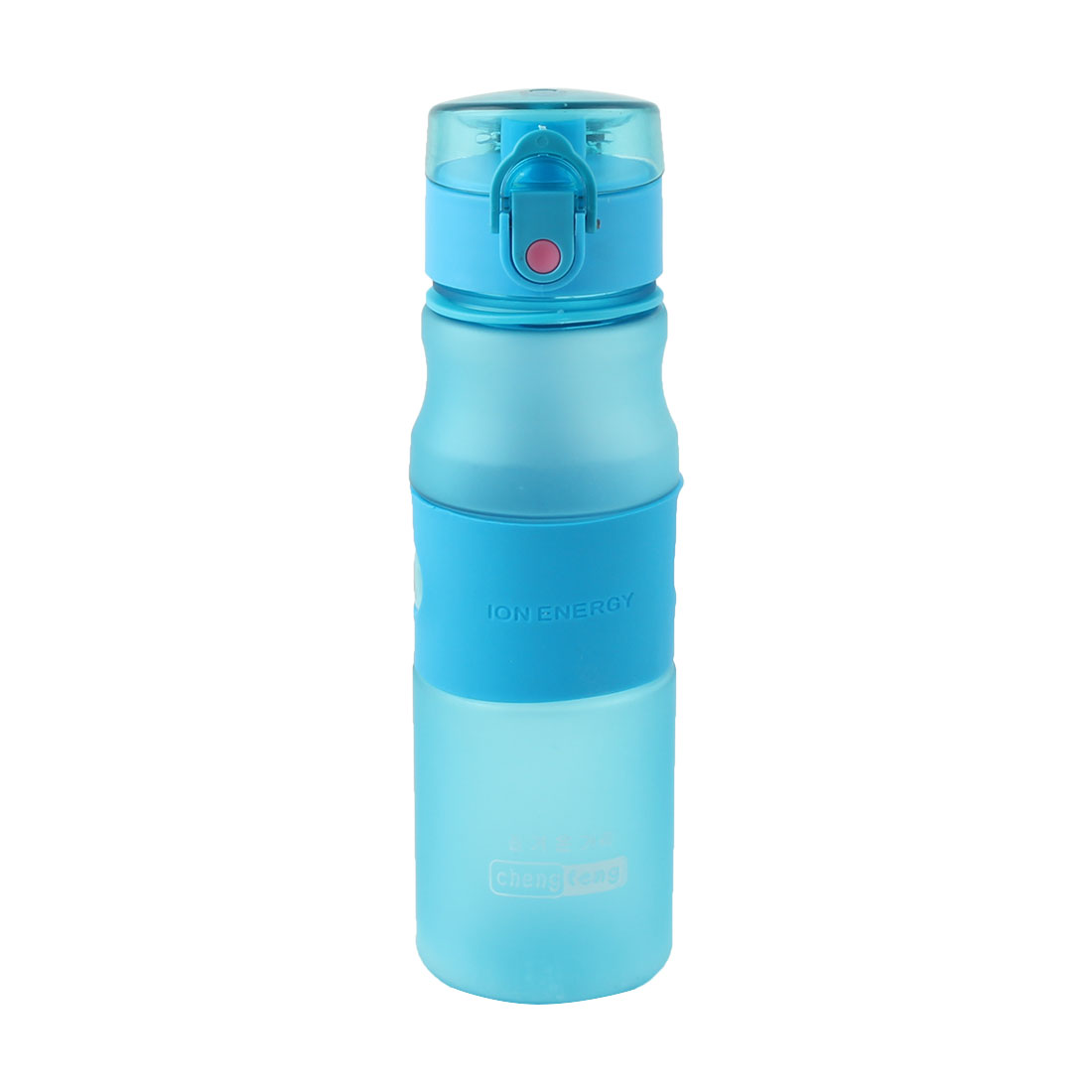 Travel Plastic Frosted Tea Juice Cup Handy Sports Drinking Straw Water Bottle Blue 550ml