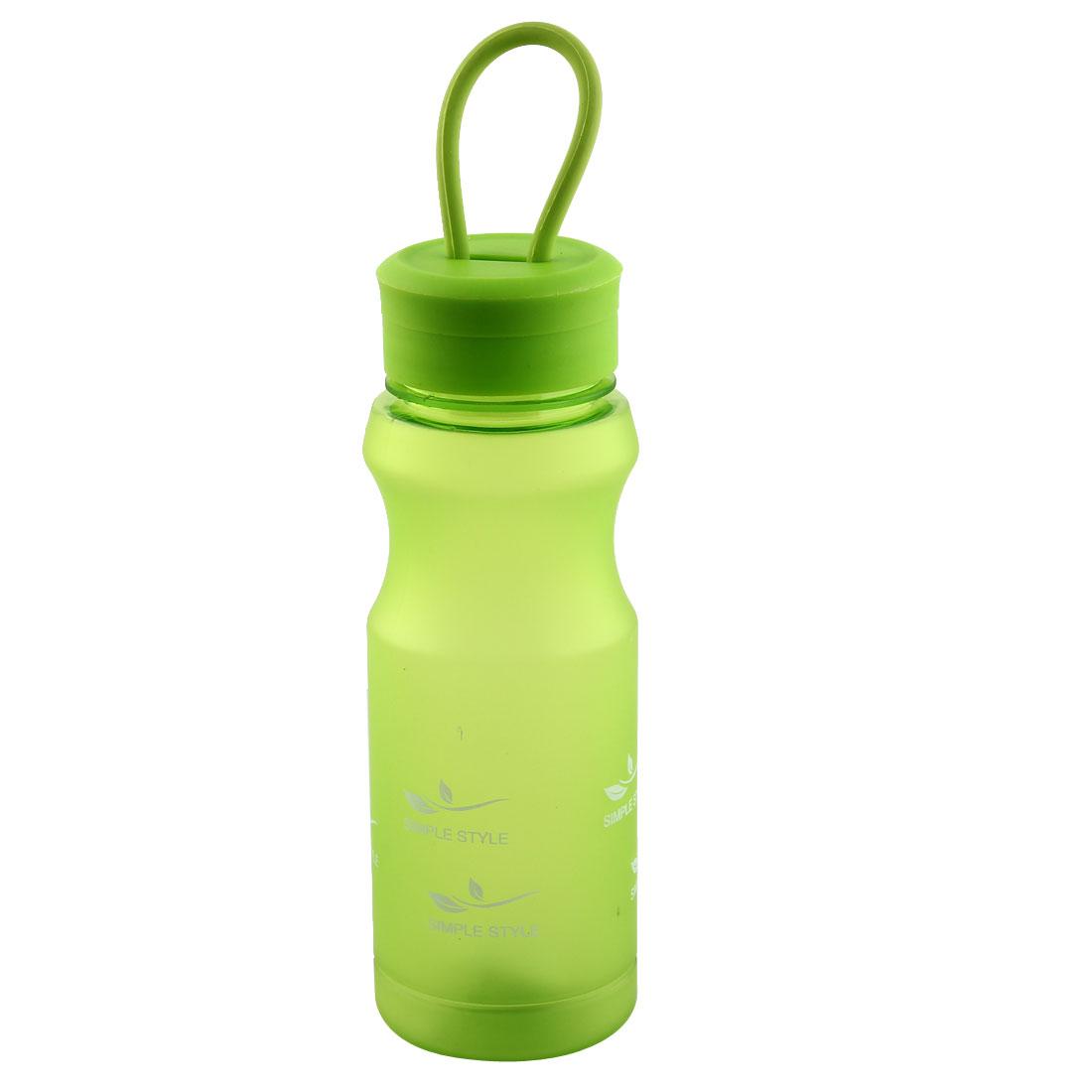 Outdoor Travel Plastic Letter Pattern Running Water Bottle Frosted Tea Cup Mug Biking Sports Kettle Green 500ml