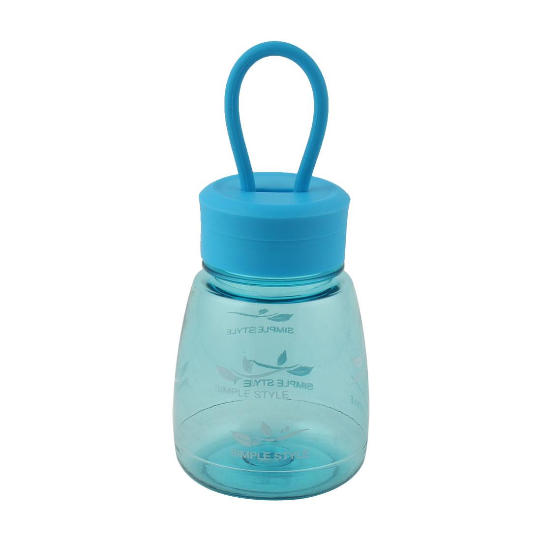 Student Plastic Letter Pattern Portable Tea Cup Water Bottle Sports Mug Blue 330ml