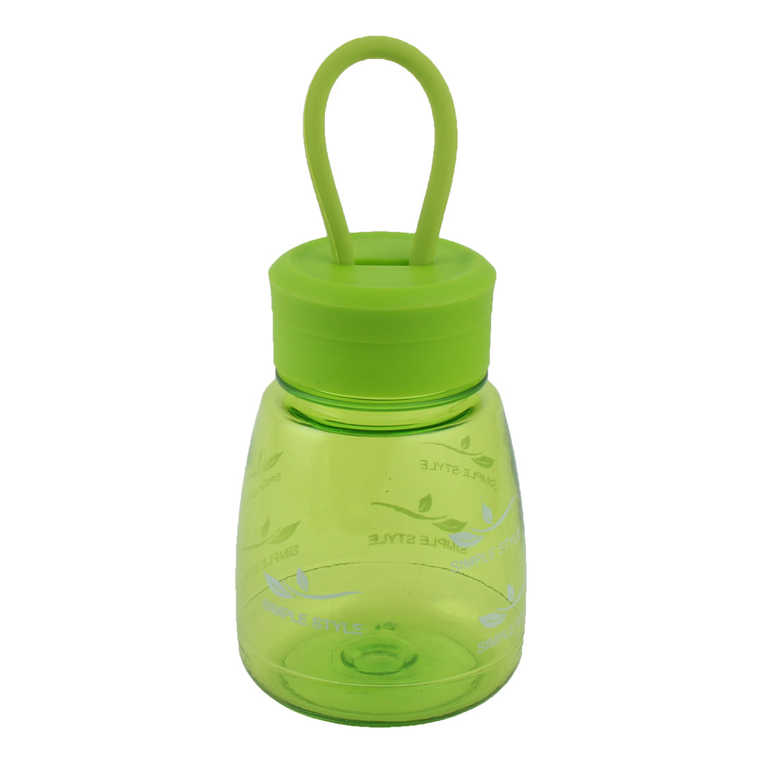 Student Plastic Letter Pattern Portable Tea Cup Water Bottle Sports Mug Green 330ml