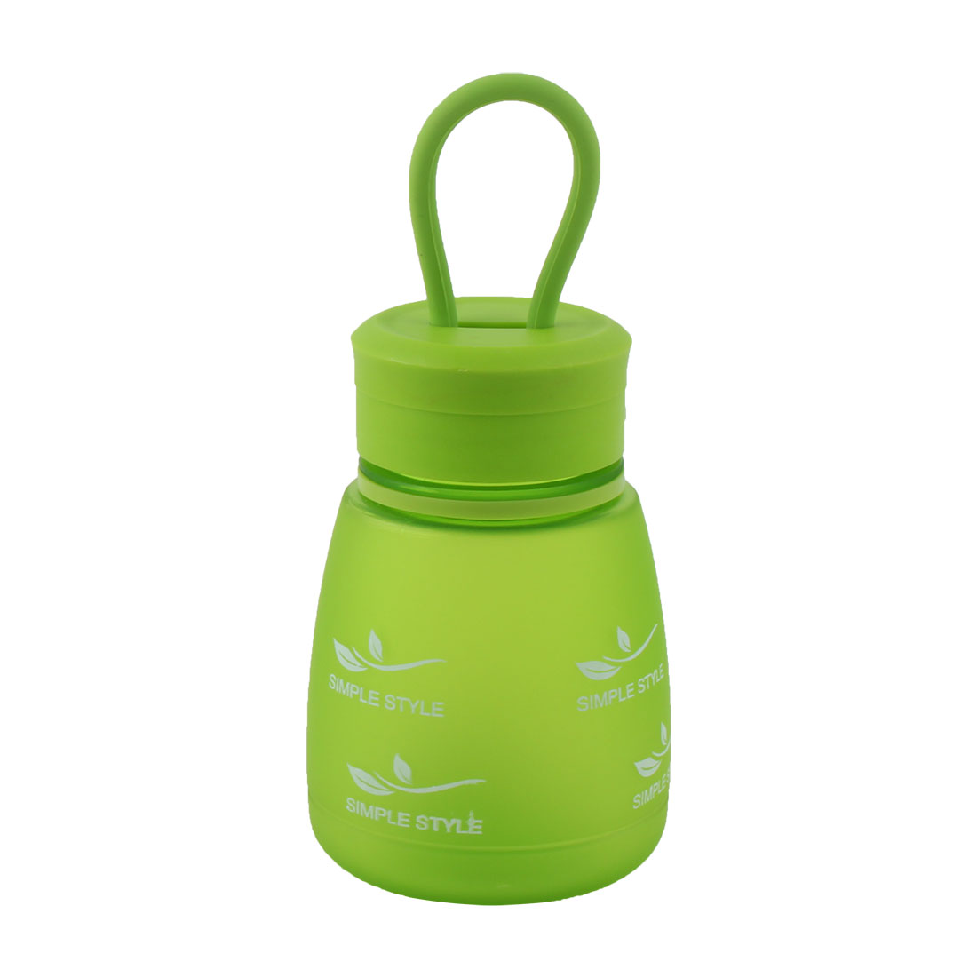 Student School Plastic Leaf Pattern Design Portable Frosted Cup Travel Water Bottle Green 330ml