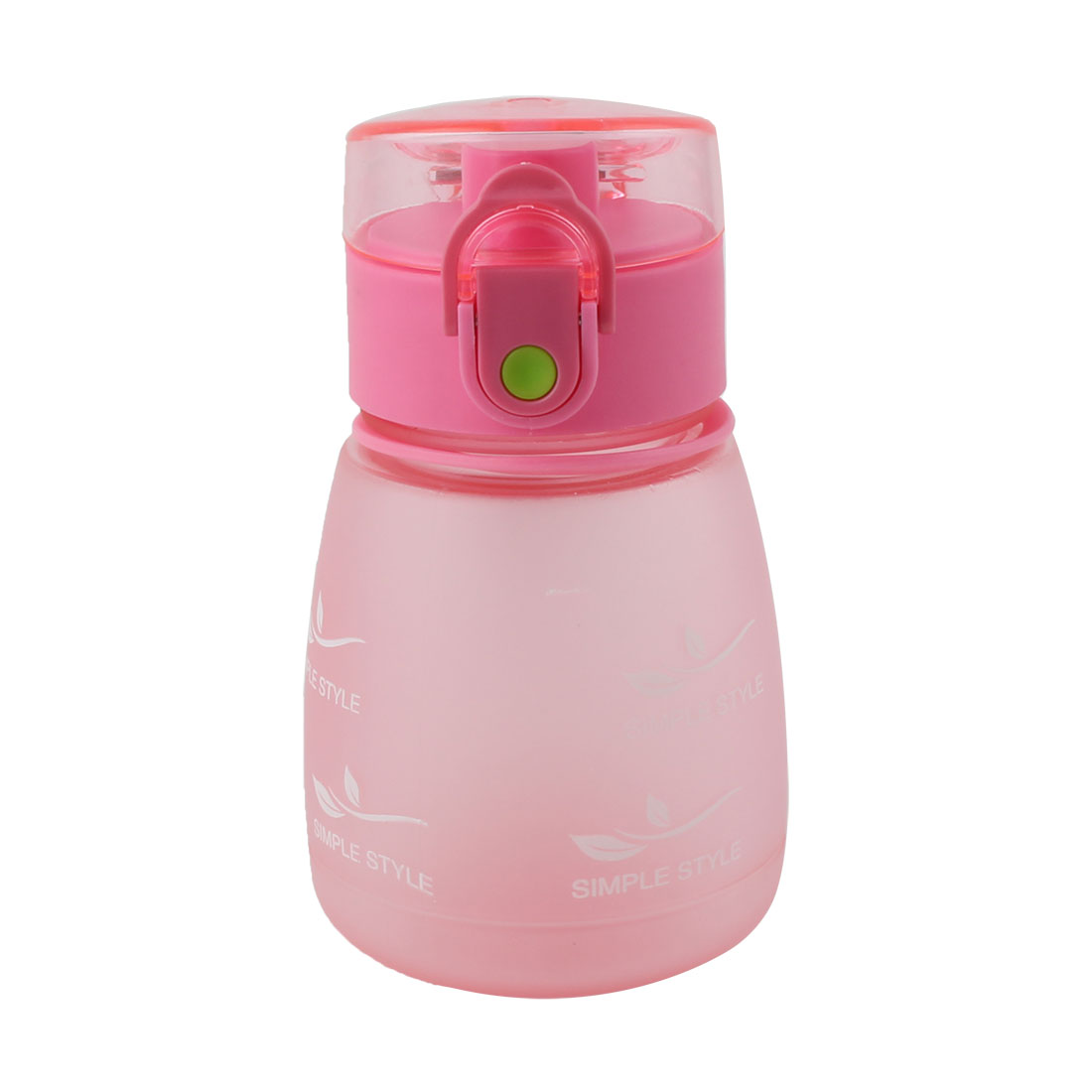 Student School Plastic Letter Pattern Portable Strap Frosted Cup Straw Water Bottle Pink 330ml