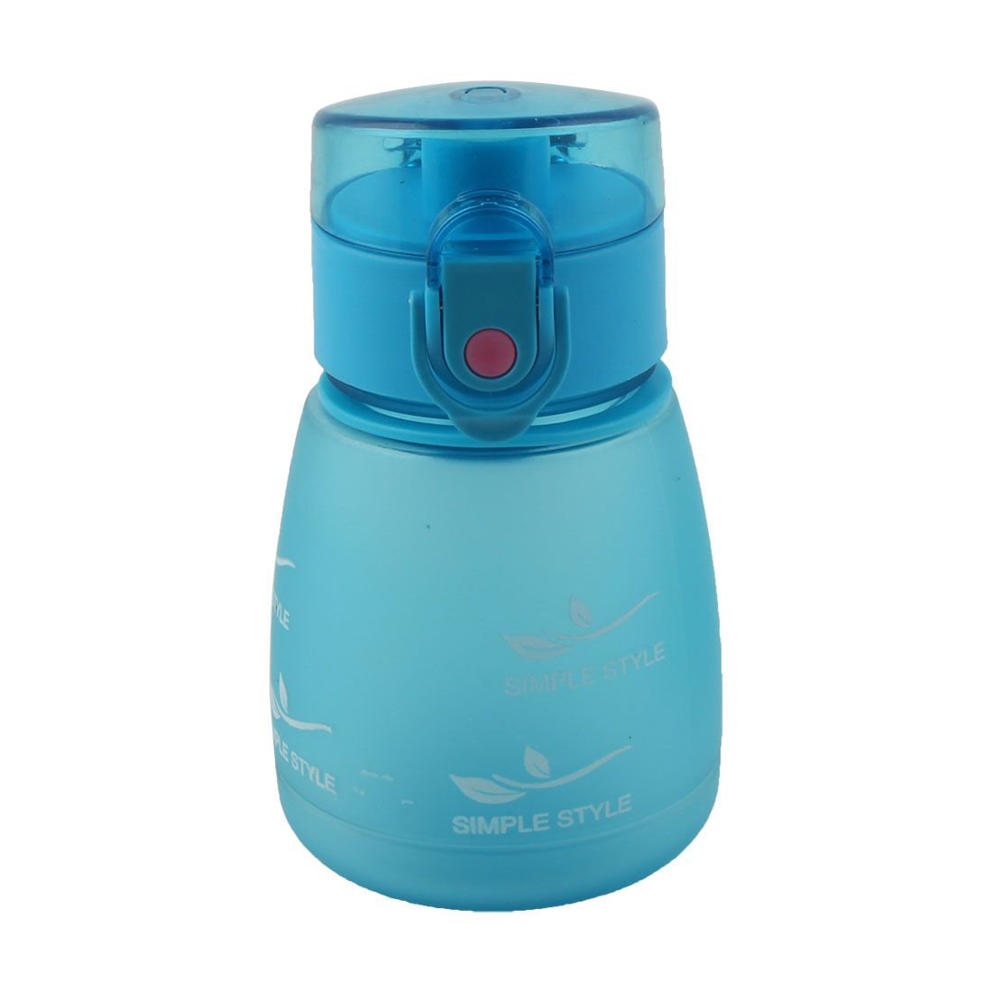 Student School Plastic Letter Pattern Portable Strap Frosted Cup Straw Water Bottle Blue 330ml