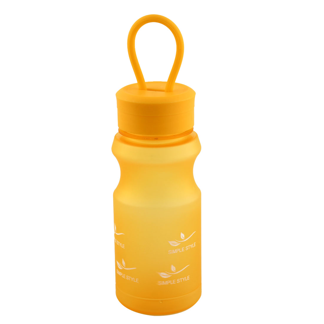 Outdoor Travel Plastic Letter Pattern Running Water Bottle Frosted Tea Cup Mug Biking Sports Kettle Yellow 400ml