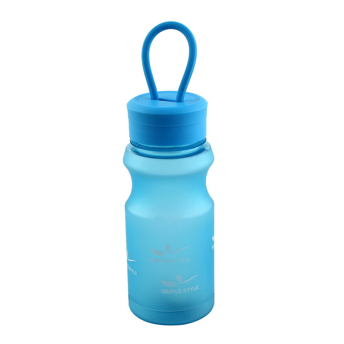 Outdoor Travel Plastic Letter Pattern Running Water Bottle Frosted Tea Cup Mug Biking Sports Kettle Blue 400ml