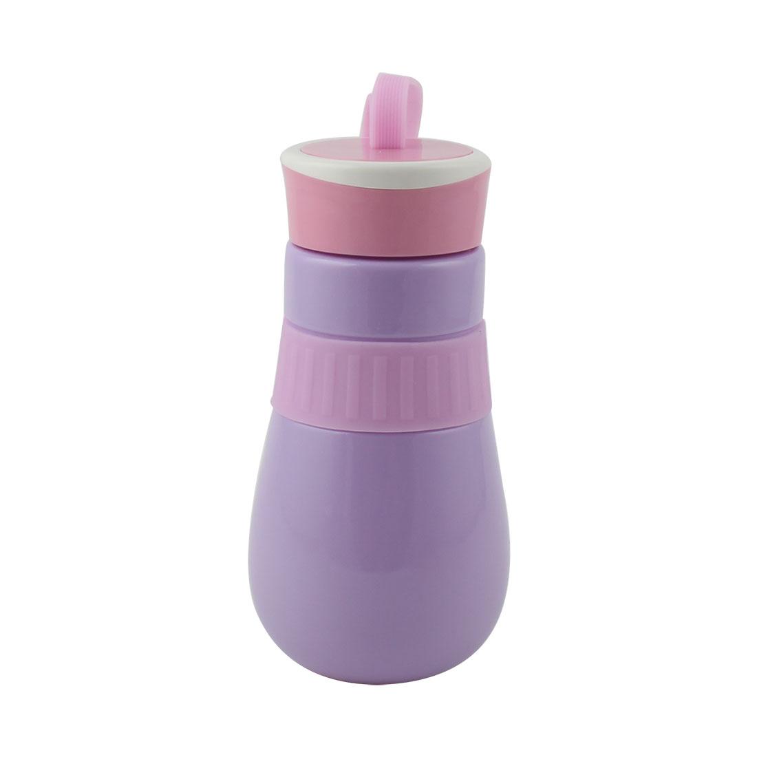 Student Travel Plastic Portable Water Tea Drinking Bottle Mug Sports Hiking Cup Purple 410ml