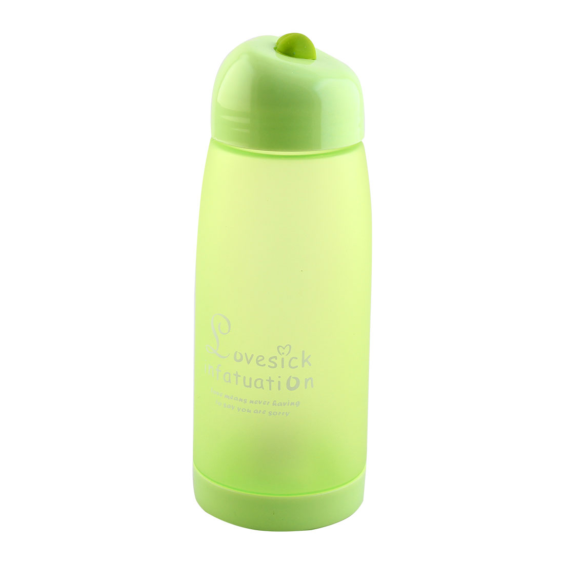 School Office Plastic Letter Pattern Water Bottle Frosted Cup Mug Portable Sports Kettle Green 500ml