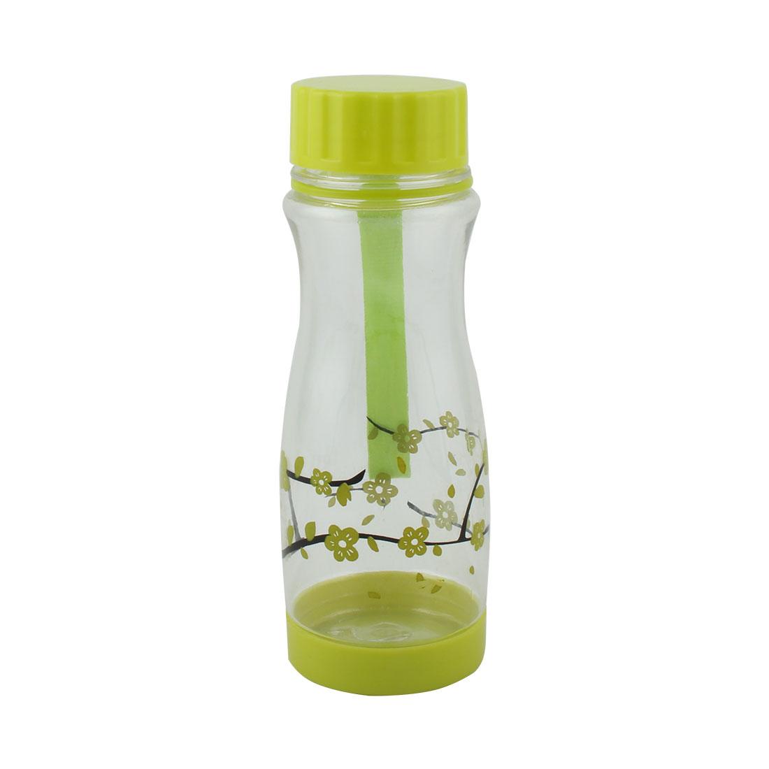 Student Plastic Plum Flower Pattern Decor Portable Tea Cup Water Bottle Sports Kettle Green 480ml