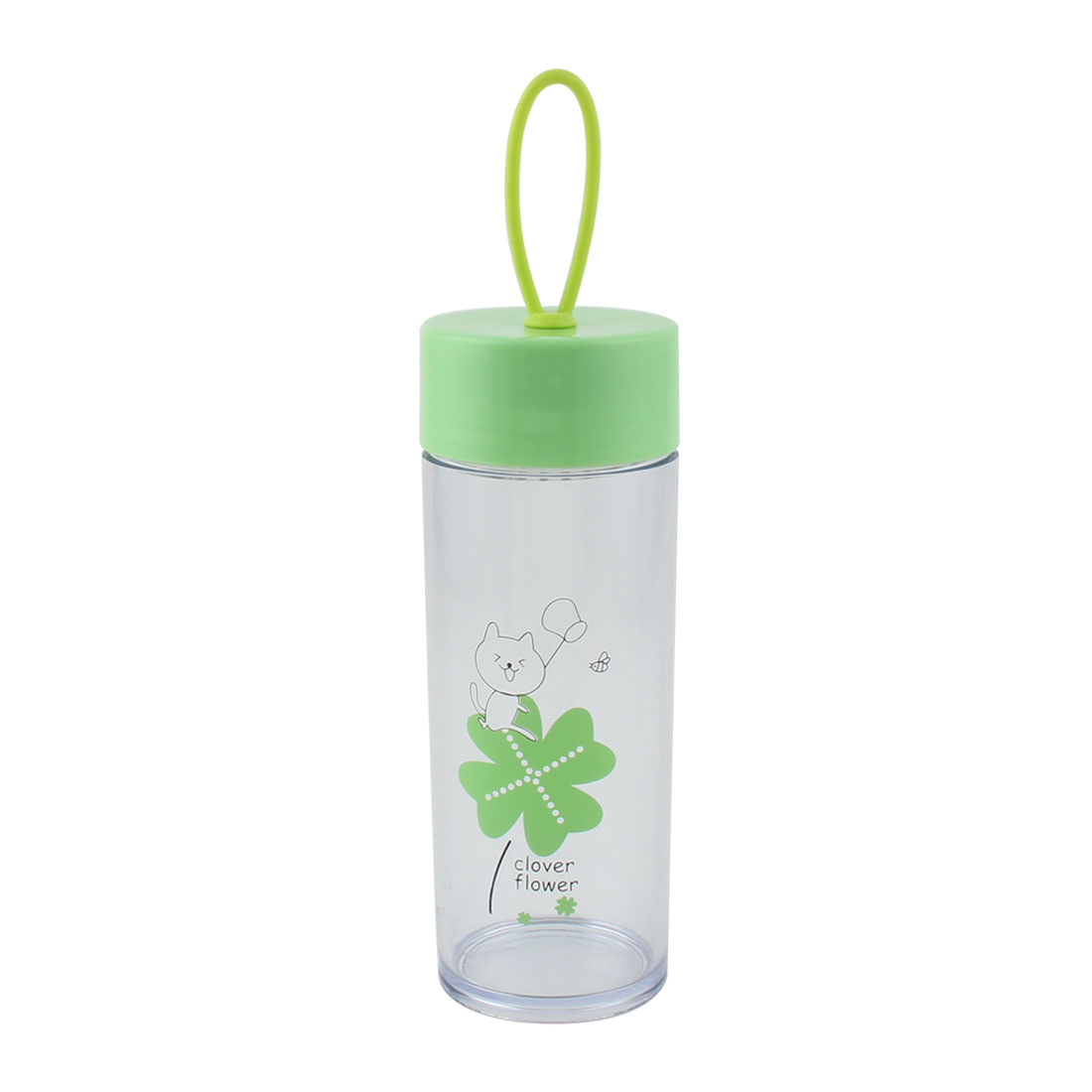 Outdoor Plastic Flower Pattern Sports Travelling Drinking Water Bottle Cup Mug Green 410ml