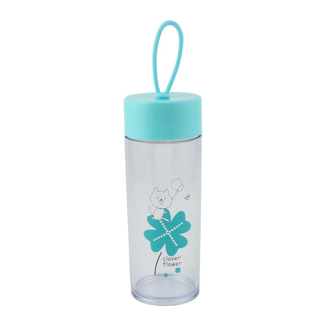 Outdoor Plastic Flower Pattern Sports Travelling Drinking Water Bottle Cup Mug Sky Blue 410ml