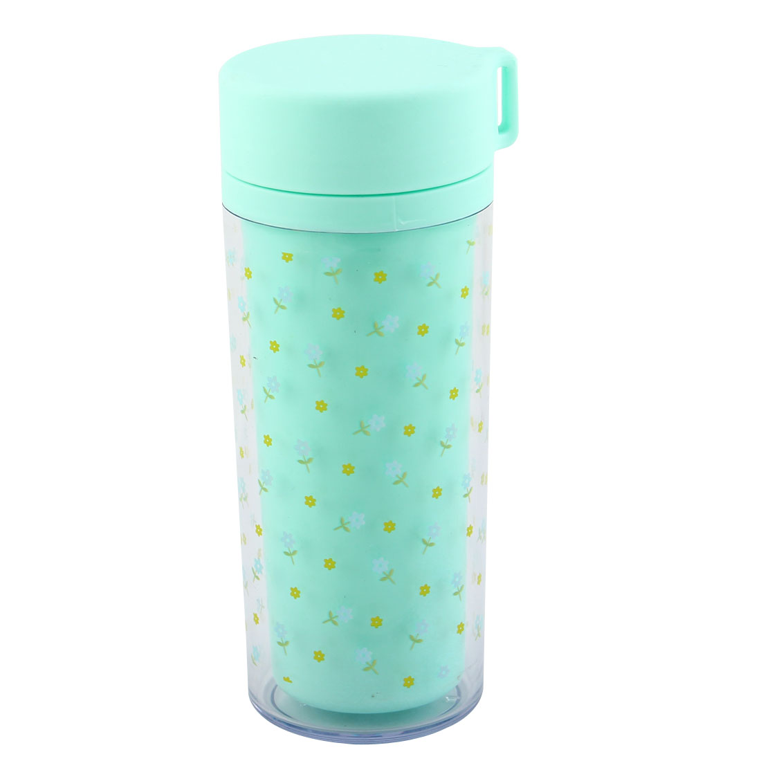 Student Plastic Floral Pattern Double Layer Water Bottle Cup Portable Sports Mug Travel Kettle Teal Blue 300ml