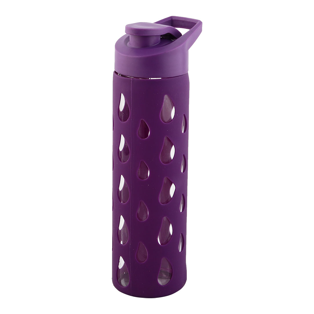 Silicone Sleeve Water Bottle Fruit Juice Cup Portable Driking Mug Driving Canteen Hiking Kettle Purple 550ml