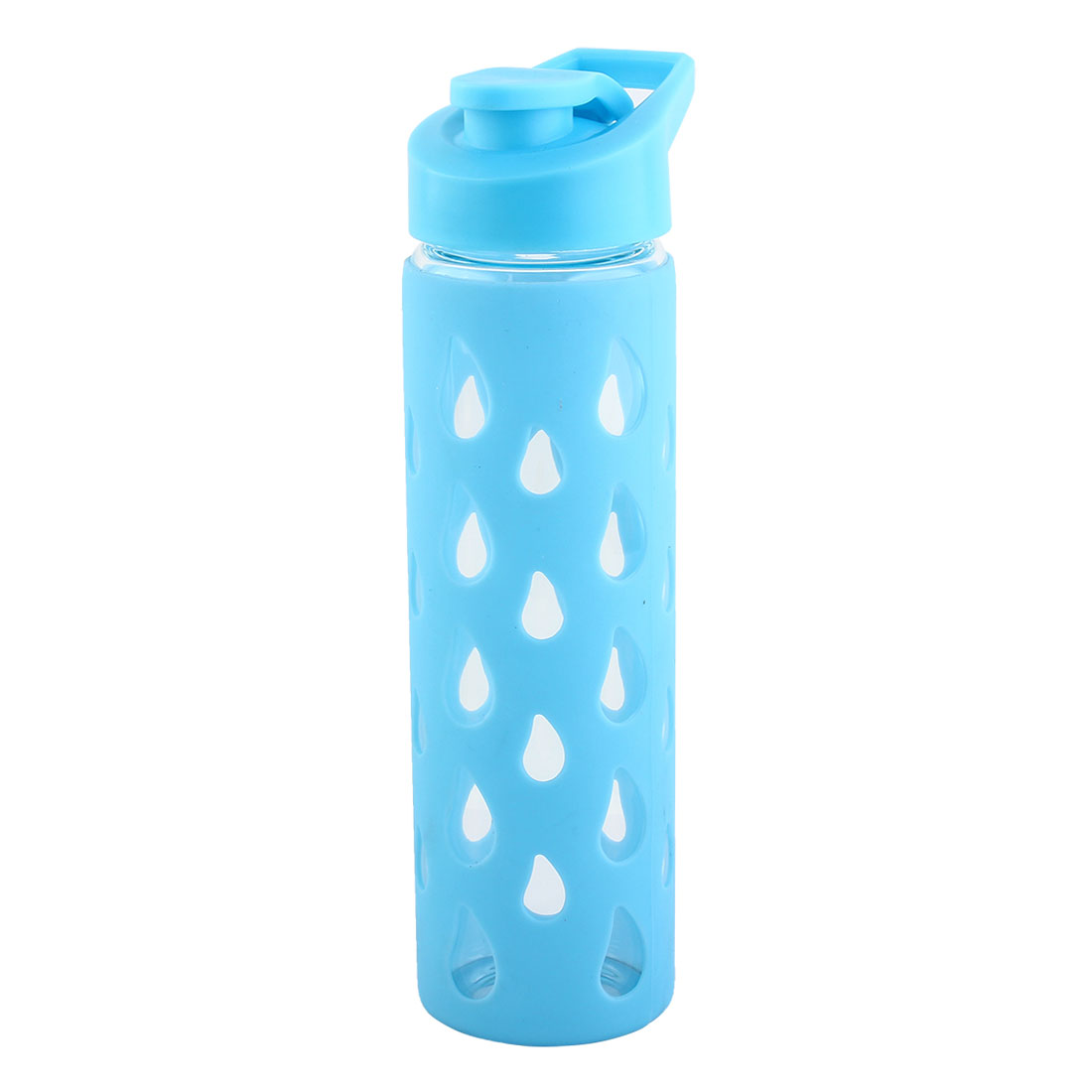 Silicone Sleeve Water Bottle Fruit Juice Cup Portable Driking Mug Driving Canteen Hiking Kettle Blue 550ml