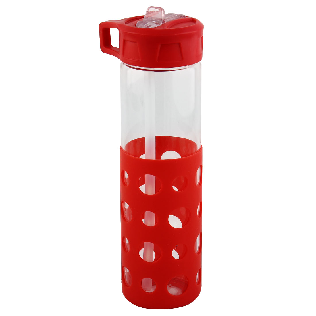 Glass Straw Water Bottle Fruit Juice Cup Portable Driking Mug Cycling Canteen Camping Kettle Red 570ml
