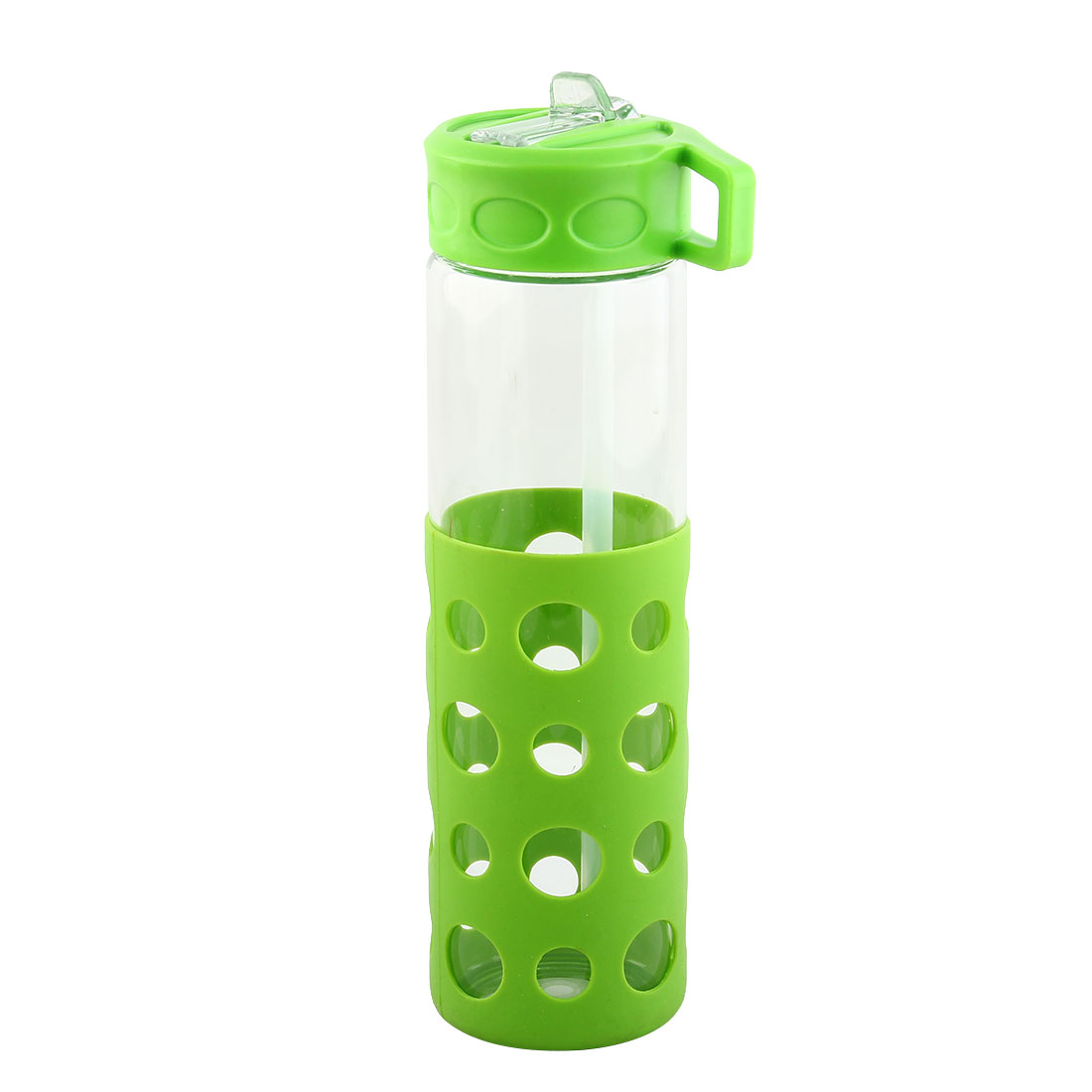Glass Straw Water Bottle Fruit Juice Cup Portable Driking Mug Cycling Canteen Camping Kettle Green 570ml