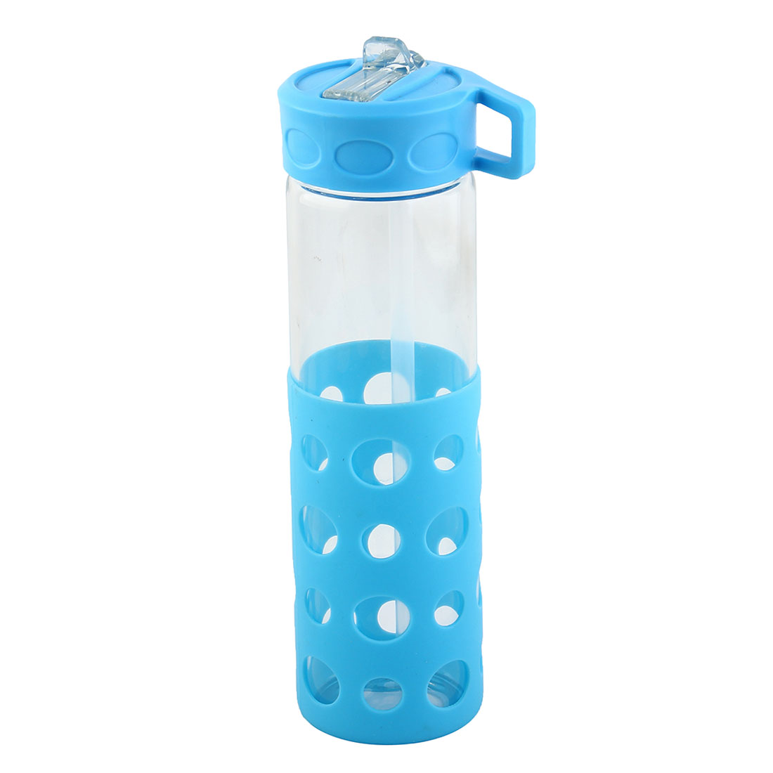 Glass Straw Water Bottle Fruit Juice Cup Portable Driking Mug Cycling Canteen Camping Kettle Blue 570ml
