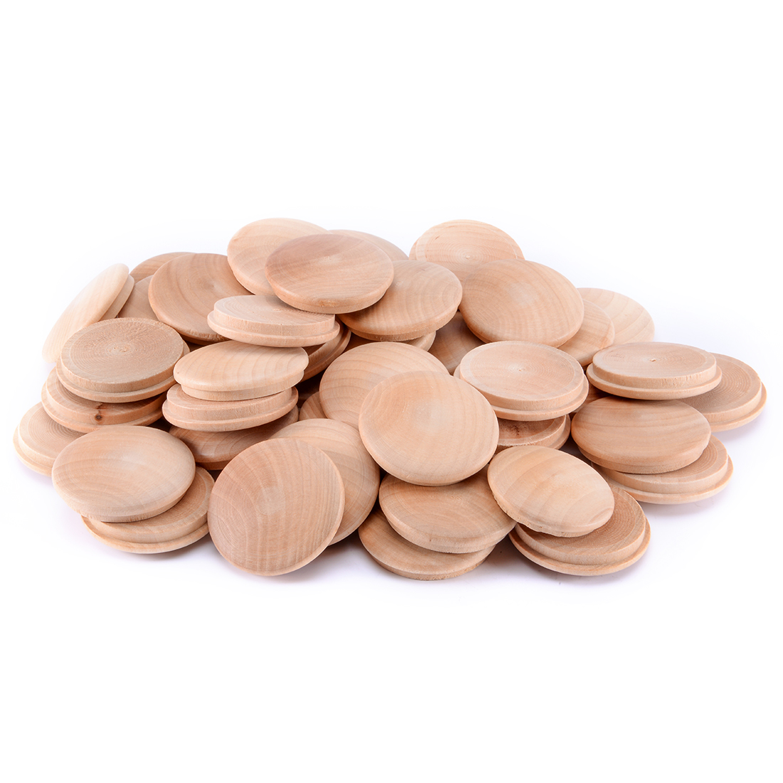 30mm 1-1/5 Inch Dia Schima Superba Wood Furniture Button Top 50pcs
