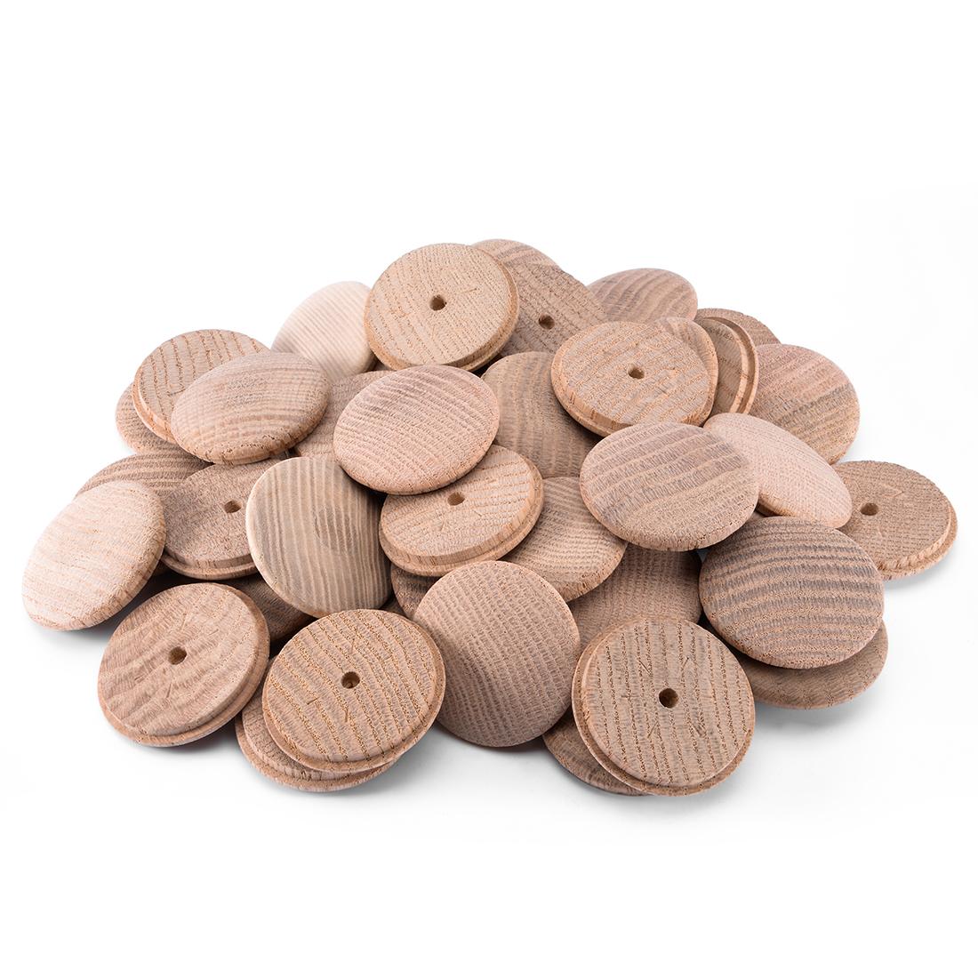 45mm 1-4/5 Inch Dia Red Oak Wood Furniture Button Top 50pcs