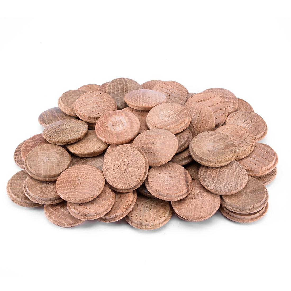 1-3/8-Inch Oak Button Top Wood Plugs 60 Pcs