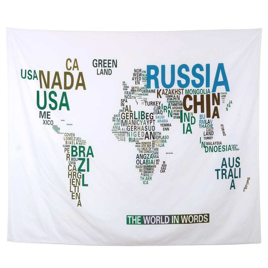Polyester English Letter Print Folding Picnic Blanket Mat Pad 1.5M x 1.3Meters