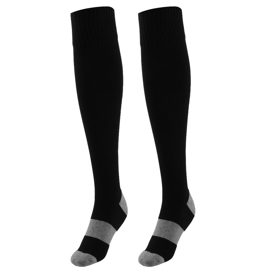 Unisex Outdoor Sports Nylon Non Slip Stretch Rugby Soccer Football Long Socks Black Pair