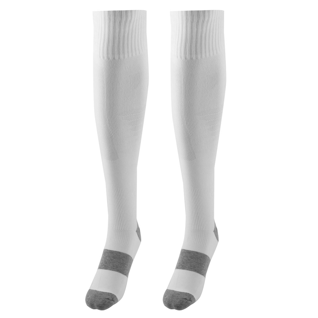 Unisex Outdoor Sports Nylon Non Slip Stretch Rugby Soccer Football Long Socks White Pair