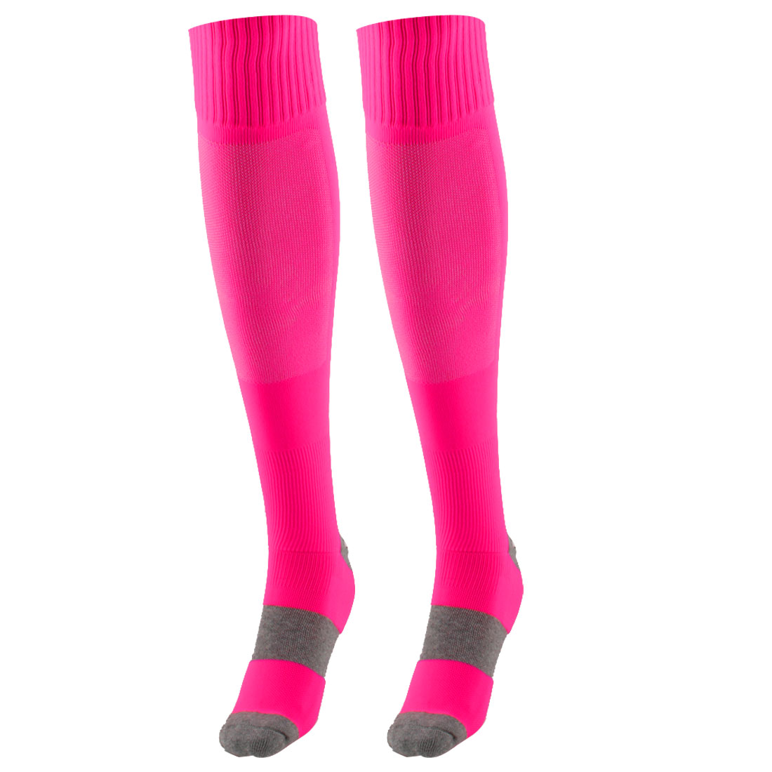 Unisex Outdoor Sports Nylon Non Slip Stretch Rugby Soccer Football Long Socks Rose Red Pair