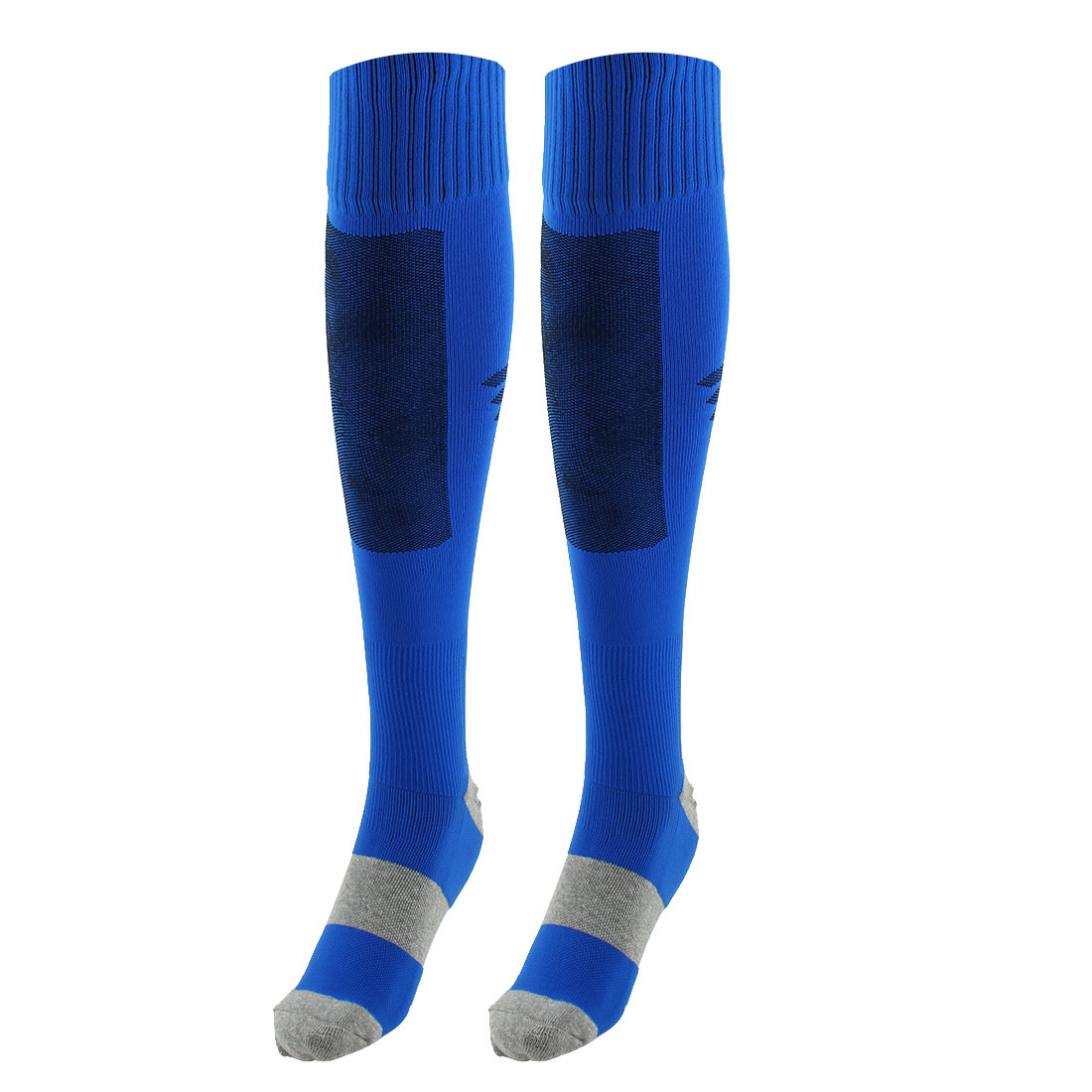 Unisex Outdoor Sports Nylon Non Slip Stretch Rugby Soccer Football Long Socks Blue Pair