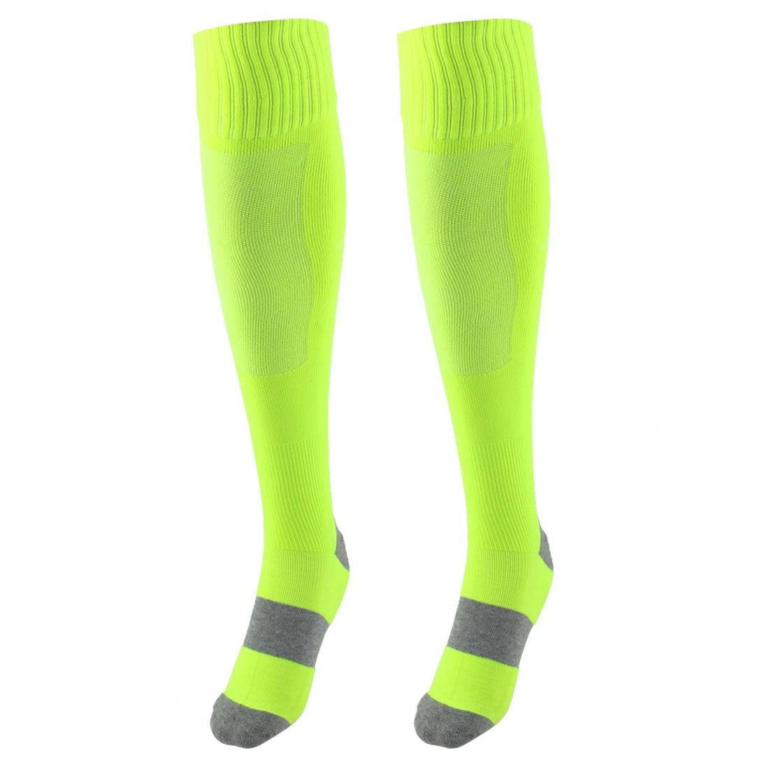 Unisex Outdoor Sports Nylon Non Slip Stretch Rugby Soccer Football Long Socks Fluorescent Green Pair