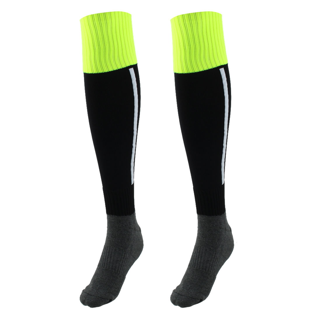 Men Sport Nylon Knee High Elastic Cuffs Baseball Football Soccer Long Socks Black Pair