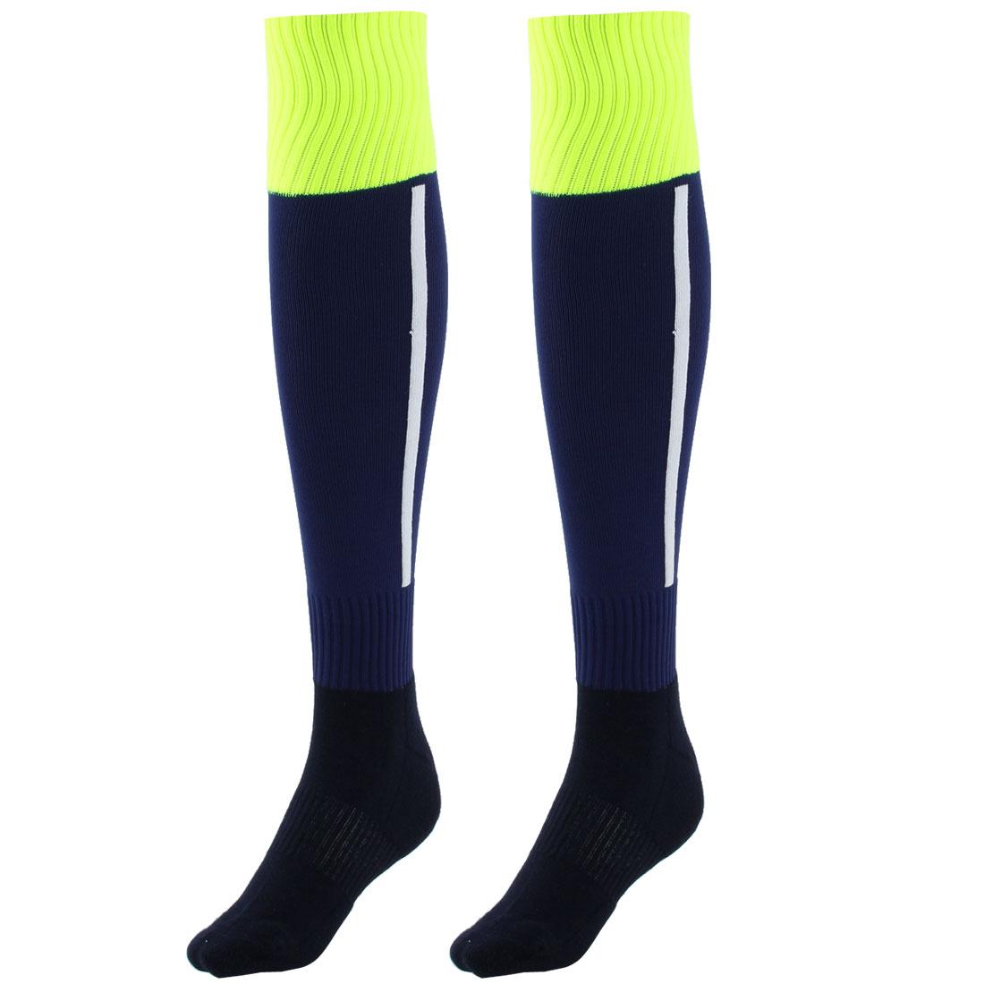 Men Sport Nylon Knee High Elastic Cuffs Baseball Football Soccer Long Socks Drak Blue Pair
