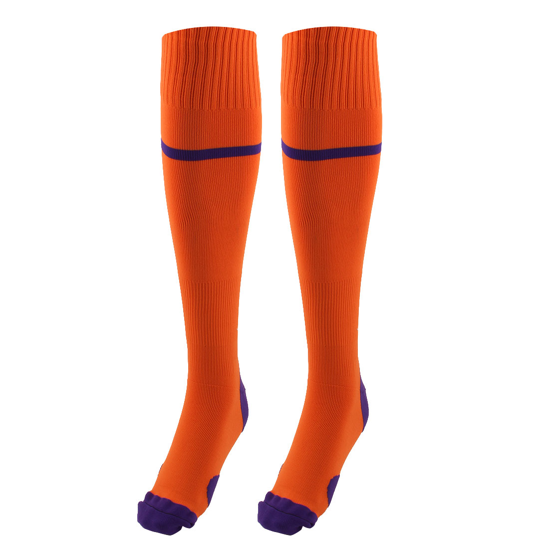 Outdoor Activities Nylon Knee High Stretchy Rugby Football Soccer Training Socks Orange Pair