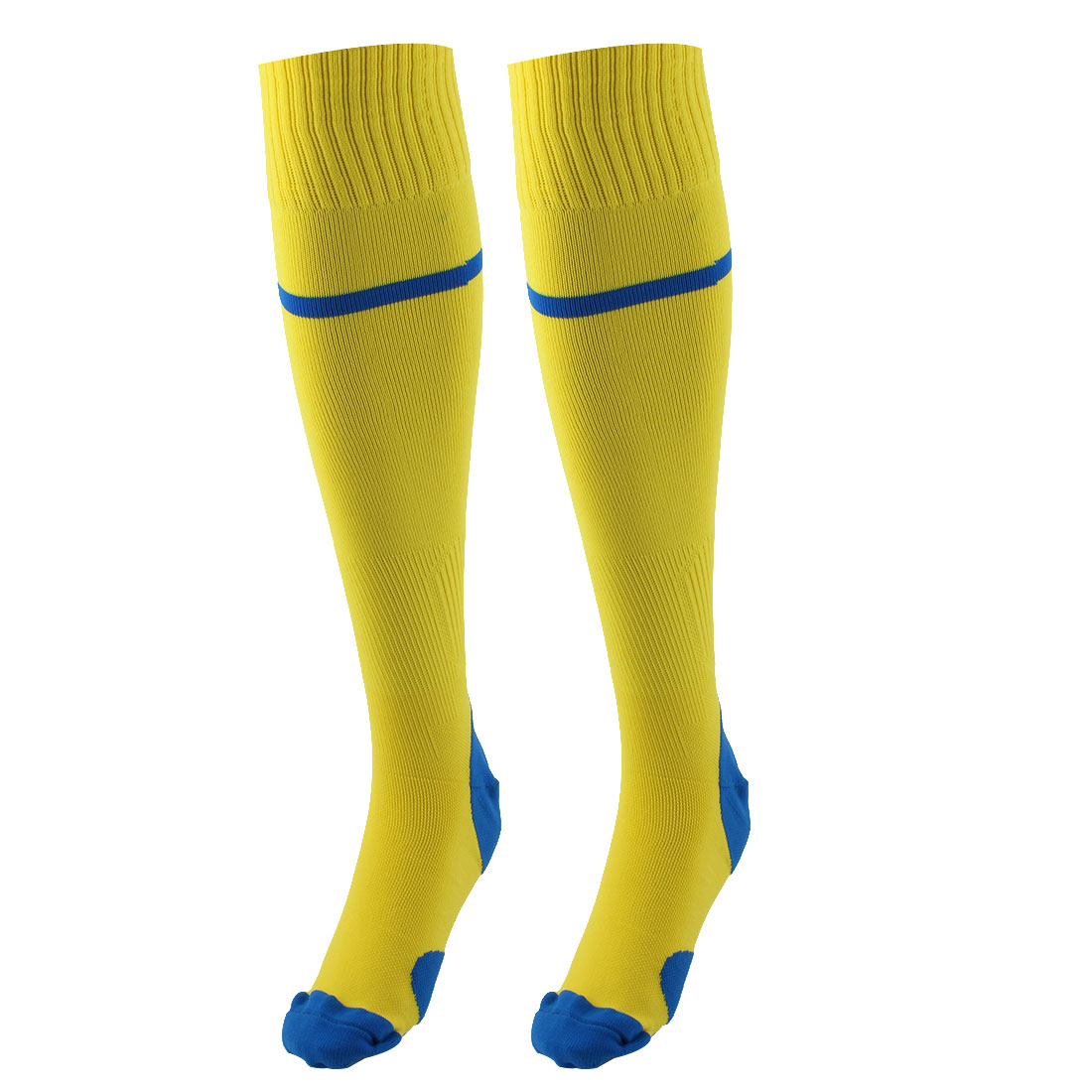 Outdoor Activities Nylon Knee High Stretchy Rugby Football Soccer Training Socks Yellow Pair