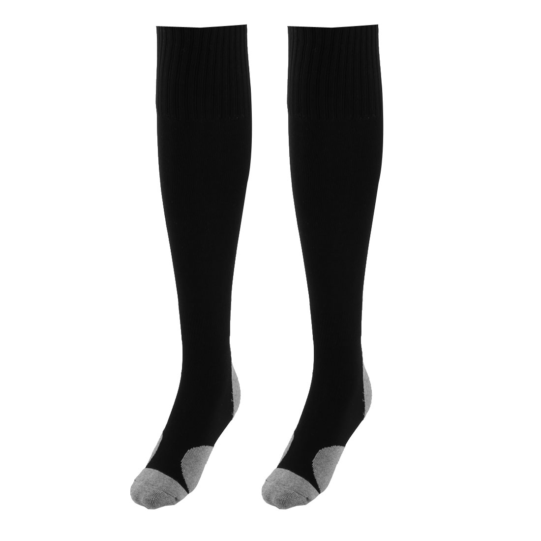 Unisex Nylon Anti Slip Breathable Elastic Volleyball Rugby Football Soccer Long Socks Black Pair